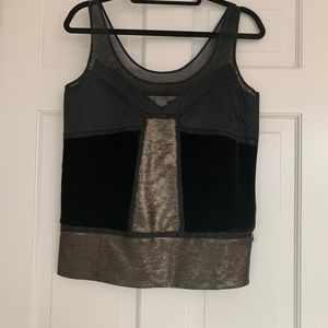 DFV Sleeveless Black and Gold Top